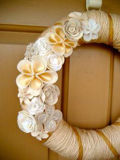 Yarn Wreath - Gold and Shades of Cream