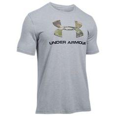 Under Armour Camo Fill Logo T-Shirt for Men - True Gray Heather/Ridge Reaper Camo Forest - 2XL