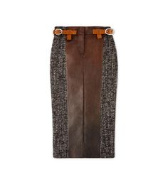 COUTURE TWEED MIDI SKIRT WITH FRONT LEATHER PANEL