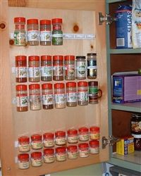 Spice rack clips. I need this. Our spice cupboard is a MESS.