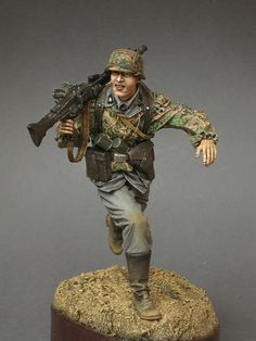 WWII SS machine gunner, military miniature soldier.