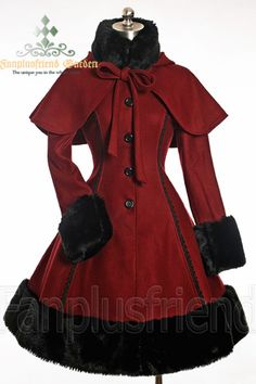 Classic Gothic Lolita: Heavy Wool & Fur Coat with Hood Cape - Front