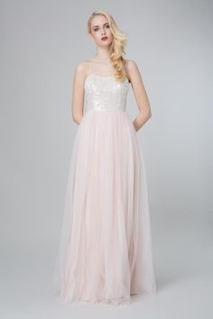 SADONI evening dress ZONJA with tulle skirt and sequin top