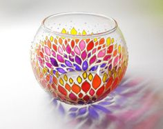 Floral candle holder sphere glass vase Hand painted pinks Tea Light glass candle holder Gift for Her Wedding Favors