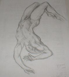 Male Nude Falling. Sketch. A4 page. ©2006 Æ Sastrias. Based on Michael Angelo's images