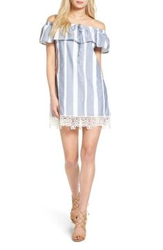Free shipping and returns on Trixxi Stripe Off-the-Shoulder Dress at Nordstrom.com. Guipure lace adds a touch of sweetness to the hem of a breezy striped shift dress styled with an off-the-shoulder neckline that's perfect for days spent lounging in the park, soaking up the springtime sun.