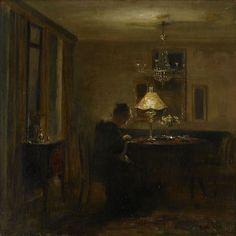 Interiör med broderande kvinna, Carl Holsøe. Danish (1863 - 1935)