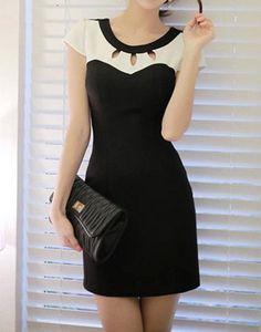 $7.34 Elegant Women's Jewel Neck Short Sleeve Hollow Out Color Block Dress