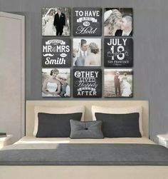 13 Nice Family Wall Decor Ideas for Your Home Adornment Wedding Picture Walls, Wedding Wall, Wedding Ceremony, Family Wall Decor, Display Homes, Home And Deco, Home Projects, Diy Home Decor, Bedroom Decor