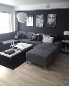 ⭐️ 47 Dark Living Room Design for Home Decor – Wohnzimmer Ideen Apartment Room, Dark Living Rooms, Apartment Design, Living Room Decor Apartment, Apartment Living Room, Trendy Living Rooms, Living Room Grey, Couches Living Room, Interior Design Living Room