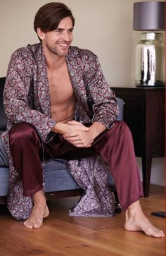 4953d86725 Men s Silk Gown Silk is a luxurious and comfortable fabric for loungewear  and… Mens Silk. Mens Silk PajamasSatin ...