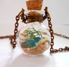 Glass Vial Necklace Glass Bottle Necklace Lake Michigan Beach Sand and Sea Glass Shell 24 inches