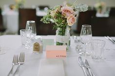 Lace wrapped jars and paint sample name cards. Beautiful idea!