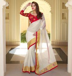 White Color Fancy Cotton Function Wear Sarees