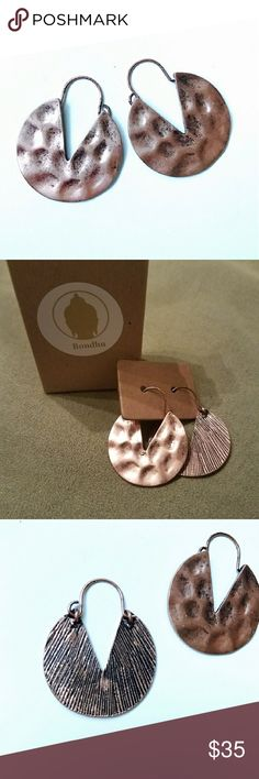 Fair Trade Hammered Brass Earrings Made in India  Fair Trade in eco-friendly recycled packaging. Approximately 1 1/8 width Amazing quality and in a cute recycled box would make a great gift. Bondhu Jewelry Earrings