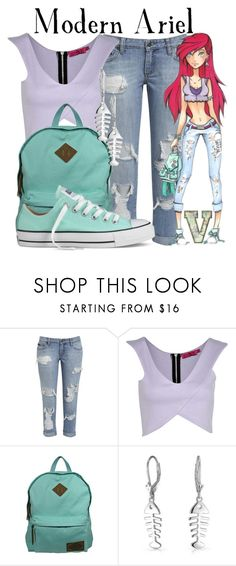 """""""Modern Ariel (The Little Mermaid)"""" by fabfandoms ❤ liked on Polyvore featuring Boohoo, Dickies, Bling Jewelry, Converse, Disney and modern"""