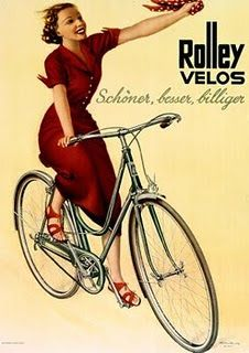 """Vintage poster for Rolley Velos, prettier, better, and more affordable. - Roberta Rolley rolled around a round rolley. - Board """"Beauty-Bikes and Girls"""". Velo Retro, Velo Vintage, Vintage Cycles, Vintage Bikes, Vintage Ads, Old Bicycle, Bicycle Art, Bicycle Design, Bike Speed"""