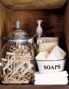 This would be a fun way to display our Buttermilk Soap Bar in a bathroom. www.twineabode.com