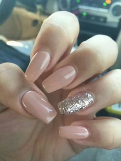 Pale nude Pink silver glitter accent acrylic nails #WeddingNails