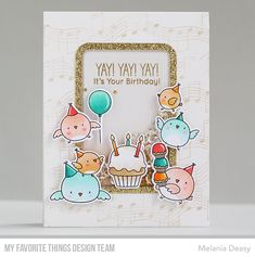 Stamps: Birthday Chicks, Musical Notes Background Die-namics: Birthday Chicks, Gift Card Window & Frame Melania Deasy #mftstamps