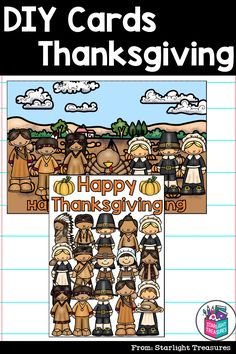 Color and make your own Thanksgiving Cards with this set of 6 printable DIY Cards. Just print, cut, color, and enjoy! Each card prints on standard 8.5x11 paper and folds in half. There are two sizes for each design: a full page size (5x7) and a standard greeting card size (5x7). Pick the size that works best for your class! For best results, print these on cardstock or thick paper! Thanksgiving Activities, Thanksgiving Cards, Greeting Card Size, Color Card, Diy Cards, Card Sizes, Teaching Resources, Make Your Own, Card Stock