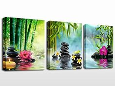 Wall Art Canvas Prints - Spa Black Stones Green Bamboos Pink Waterlily and Frangipani Pictures - Framed Ready to Hang - 3 Panels Modern Painting Zen Giclee Art Work for Home Office Kitchen Wall Decor