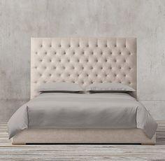 Adler Panel Diamond-tufted Fabric Platform Bed