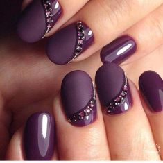 NagelDesign Elegant ( Winter Nail Art Designs a. ) You are in the right place about wedding nails for bride navy Here we offer you the mos Nail Art Violet, Purple Nail Art, Purple Nail Designs, Acrylic Nail Designs, Nail Art Designs, Nails Design, Purple Glitter, Acrylic Nails, Purple Wedding Nails