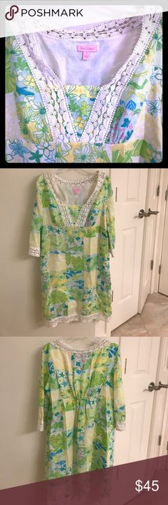 Lilly Pulitzer dress Vintage cut/patchwork pattern Lilly- a true classic cut & pattern! Size Small but pretty roomy- think it would also fit a Medium Lilly Pulitzer Dresses