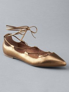 gold lace-up ballet flats