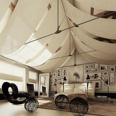 """Las telas en forma de """"Jayma"""" le dan un aspecto etéreo y ensoñador al techo de esta habitación"""