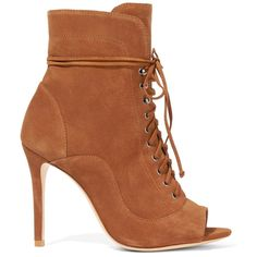 Schutz Akemi lace-up suede ankle boots (460 BRL) ❤ liked on Polyvore featuring shoes, boots, ankle booties, brown, brown lace up boots, suede peep toe booties, lace up booties, brown suede booties and peep-toe booties