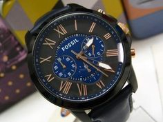 FOSSIL Leather Band GRANT Blue Black Multifunction CHRONOGRAPH Dial Watch FS5061