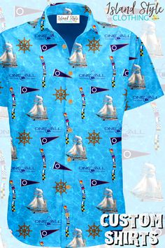 Cool custom Hawaiian Shirts for One & All Sailing Ship Co. Team Apparel. Free design on Sunny Coast, Qld #customshirts #customhawaiianshirts #sailingshirts #customsailingshirts #madetoorder #corporateapparel #eventshirts #uniforms #tourshirts #customtshirts #sportsshirts #custom-shirts