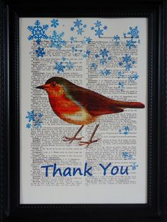 Robin art print with swirling blue snowflakes on by frenchprints, $8.95