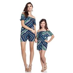 Mom and daughter Striped matching family clothes Casual short A suit Off Shoulder