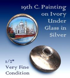19th C. Subject Under Glass in Silver Button ~ R C Larner Buttons at eBay  http://stores.ebay.com/RC-LARNER-BUTTONS