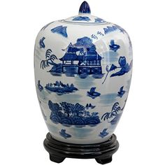 "Oriental Furniture 11"" Landscape Blue and White Porcelain Vase Jar >>> Don't get left behind, see this great product offer  : Christmas Home Decor"