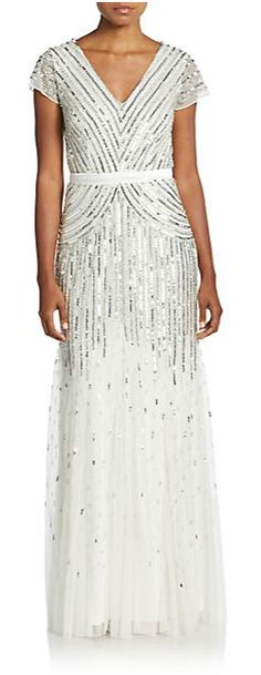 Adrianna Papell | Chevron-Stripe Sequined Gown | SAKS OFF 5TH