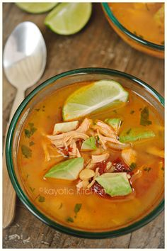 Caldo Tlalpeño (it's a savory chicken and vegetable soup with the smokiness and spiciness of chipotles in adobo sauce, the freshness of lime and the tender, nutty flavor of avocado.)