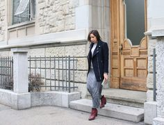 MM6 clutch, The Kooples perfecto coat, IRO long tube dress and Acne boots/ streetstyle.  Metallics, Navy & Marsala