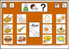 MATERIALES - Tableros de Comunicación de 12 casillas.    Tablero de comunicación de doce casillas sobre alimentos: aves y huevos.     http://arasaac.org/materiales.php?id_material=224