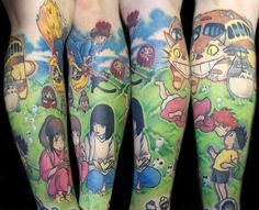 Kamakazi Ink: half leg sleeve by Steve Sklepic — with Jennifer Shepherd. Stunning Studio Ghibli tattoo!