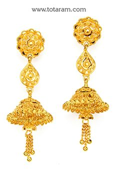 Gold Jhumkas - Gold Dangle Earrings - - Indian Jewelry from Totaram Jewelers Gold Bangles, Gold Jewellery, Diamond Jewelry, Dangle Earrings, Uncut Diamond, Ear Rings, Gold Pendant, Indian Wear, Indian Jewelry