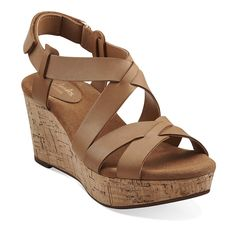 "Clarks Artisan Womens Platform Wedge Sandals – Leather with rubber sole, hoop and loop ankle strap closure, 3"" cork wedge heel height, cushioned footbed, Durable and rubber traction outsole #timeless #beach #summer #brown #rawfashion #MadeInUK #basics"