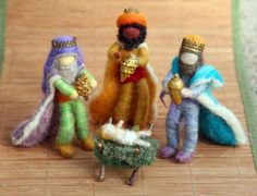 Needle Felted Wise Men Three Kings Nativity Set  by boridolls, $120.00
