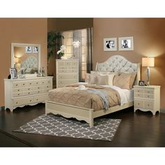Create a vintage look in your bedroom with this 4-piece Marilyn bedroom collection. The bed, dresser, nightstand and mirror will finish your room in pale hues with dazzling crystal knobs that can enhance any color scheme.