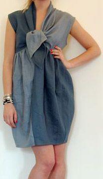 Mociun Tulip Skirt Tie-Front Dress 100% linen, & yellow contrast panel in back.