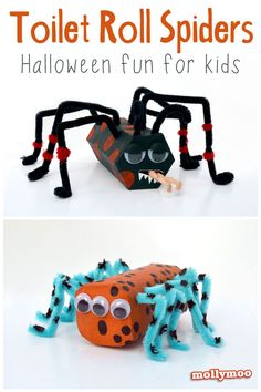 crafts for kids: Toilet Roll Pipe Cleaner Spiders Halloween Crafts For Kids, Halloween Activities, Craft Activities For Kids, Crafts To Do, Projects For Kids, Halloween Fun, Diy For Kids, Holiday Crafts, Kids Crafts