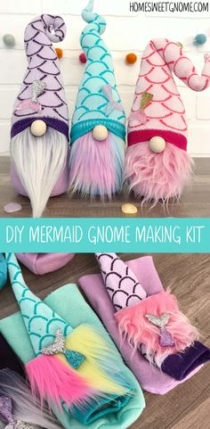Make your own mermaid gnome with one of our DIY gnome making kits! No sewing req… Make your own mermaid gnome with one of our DIY gnome making kits! No sewing required. The perfect summer mermaid craft! Crafts To Do, Felt Crafts, Arts And Crafts, Diy Crafts, Mermaid Crafts, Mermaid Diy, Craft Kits, Diy Kits, Craft Ideas